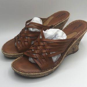 Born Woven Leather Espadrille Wedge Sandals Sz 8